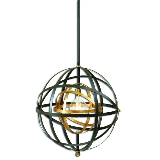 Carolyn 1 Light Sphere Pendant In Bronze And Brass
