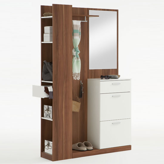 White Hallway Storage Furniture: Rosano Ashtree/White Hallway Stand/Shoe Storage Cabinet