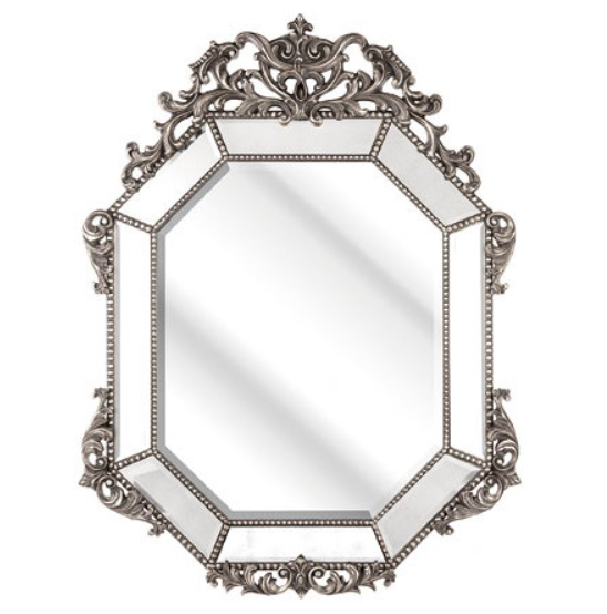 Rossini Wall Mirror In An Octagonal Silver Frame