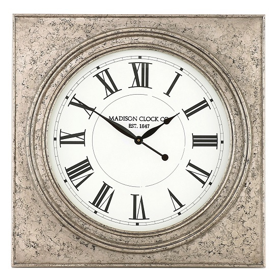 Kiel Wall Clock Square In Silver Marble Effect