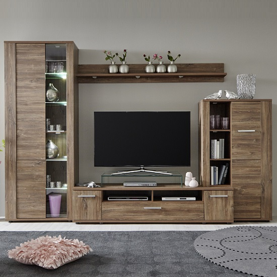 Alvin Wooden Living Room Set In Acacia Dark With LED Lighting_4