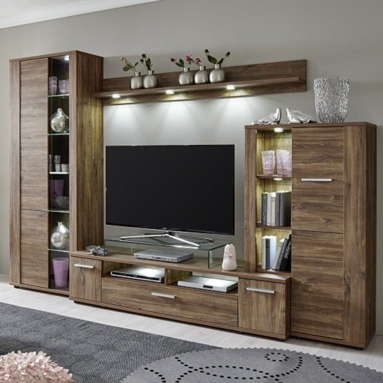 Read more about Alvin wooden living room set in acacia dark with led lighting