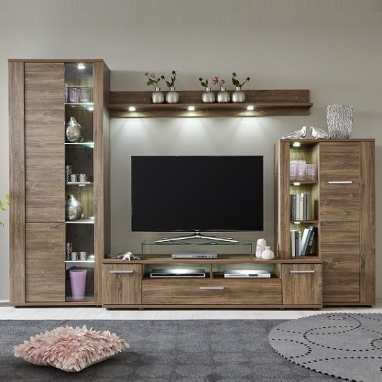 Alvin Wooden Living Room Set In Acacia Dark With LED Lighting_2