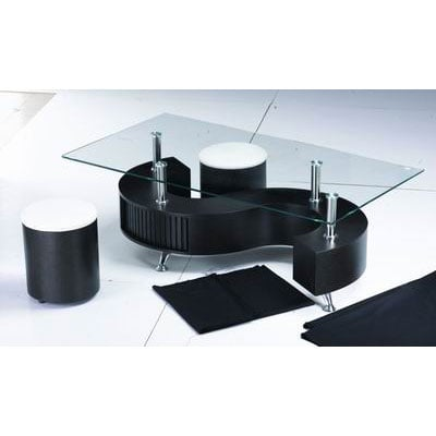 S Shape Glass Top Wenge Coffee Table With Storage