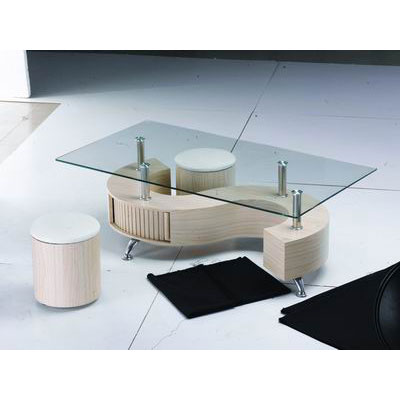 S Shape Glass Top Beech Coffee Table With Storage