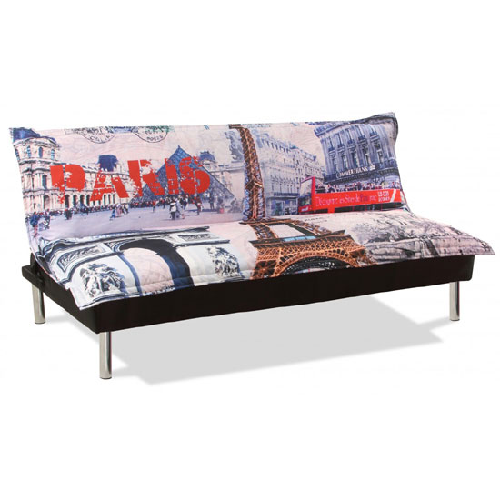 Calvin sofa bed in fabric with printed paris design for Sofa bed paris