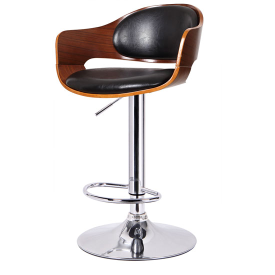 Corian Bar Stool In Walnut And Black PU Leather With Chrome Base