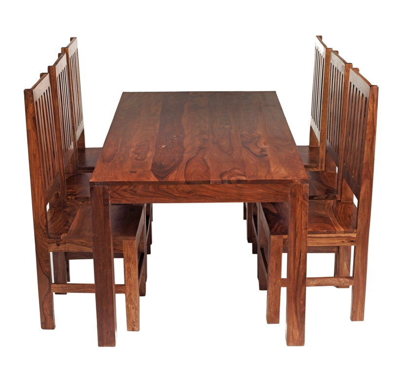 Cube Sheesham Dining Set with 6 High Back Chairs