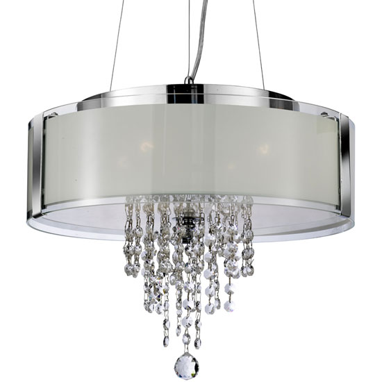 4 Light Ceiling Pendant In Frosted Glass And Chrome
