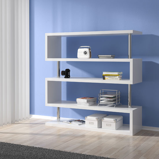Miami Shelving Unit Wide In White High Gloss With Chrome Support