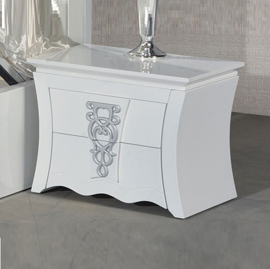 Gastineau bedside cabinet in white and black with 3 drawer for Funky bedside cabinets