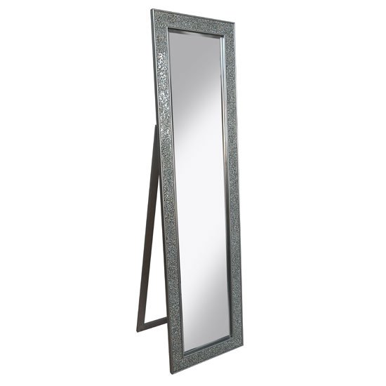 Aliza Floor Standing Cheval Mirror In Silver Mosaic Frame