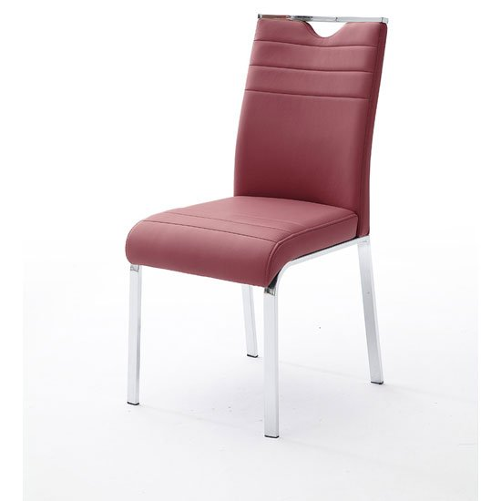 Slash Dining Chair In Bordeaux PU With Chrome Foot Frame