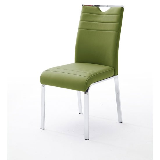 Slash Dining Chair In Olive Faux leather With Chrome Foot Frame