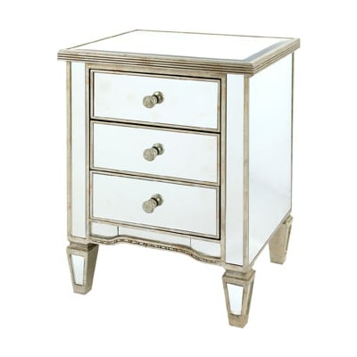 Solitaire 3 Drawer Mirrored Bedside Table