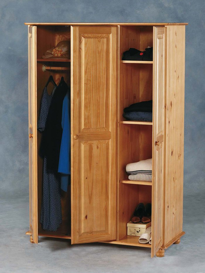 Sol Wardrobe - Three (3) Door Antique Pine Finish