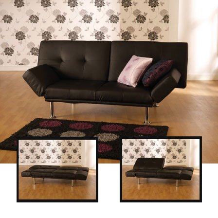 Sasha Black Faux Leather Sofa Bed
