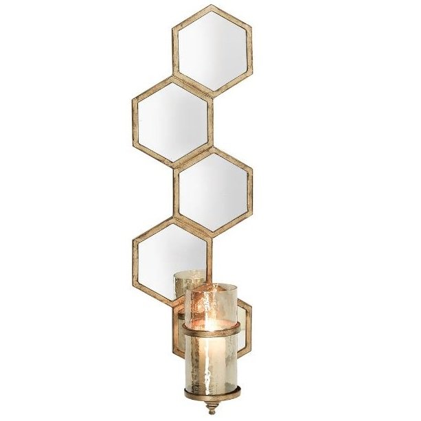 mirrored wall sconce candle holder in gold finish 36755. Black Bedroom Furniture Sets. Home Design Ideas