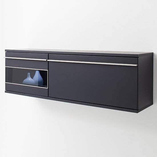 Black Collection Wall Unit With One Set Of Led Lights