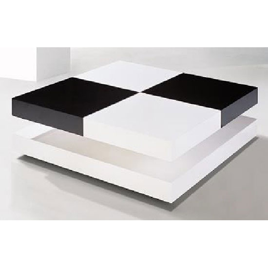 Davis Square Coffee Table In High Gloss White And Black