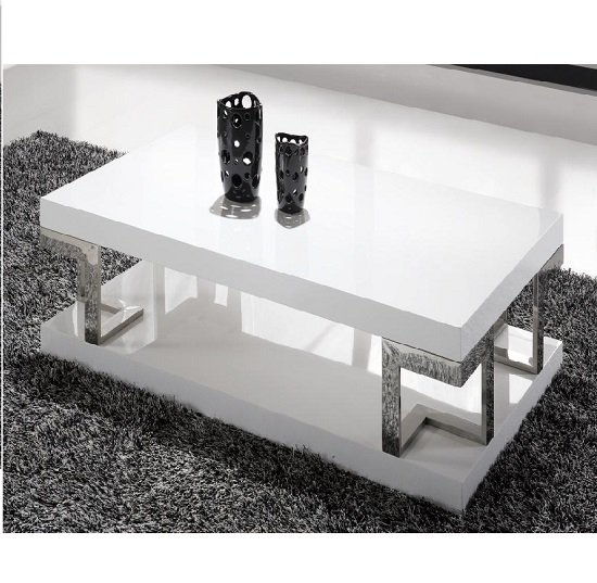 Hanvury White Hi Gloss Coffee Table With Chrome Design