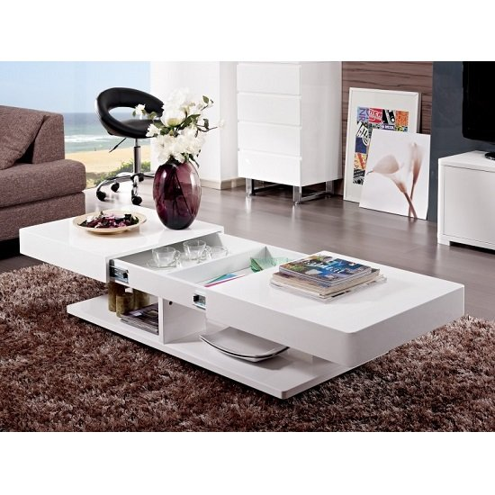 Verona Extendable High Gloss Coffee Table In White 21025: High Gloss Coffee Tables, Black, White, Furnitureinfashion UK
