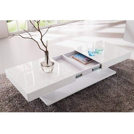 Verona Storage Coffee Table In High Gloss White 6