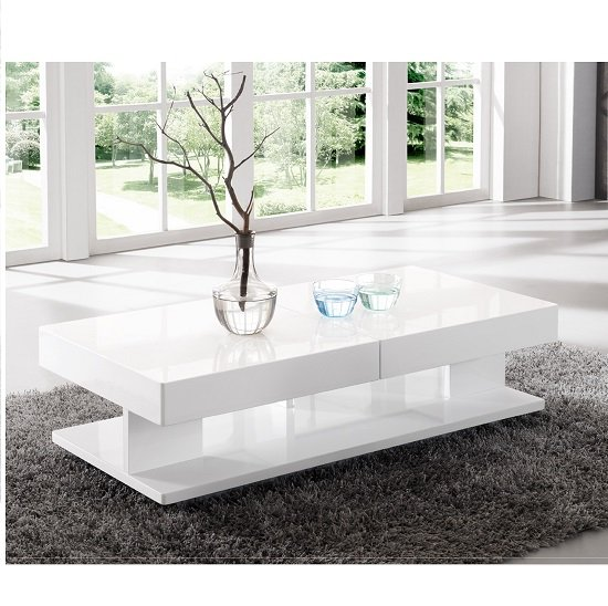 Tiffany White High Gloss Square Coffee Table Furniture: Verona Extendable High Gloss Coffee Table In White 21025