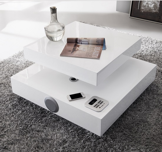 Apples High Gloss Coffee Table In White With Speakers And Usb