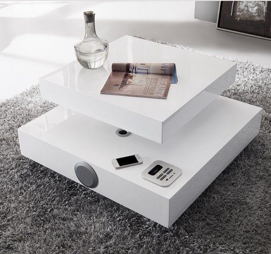 ST B44 speaker coffee table white - Simple Timeless Ideas On How To Decorate A Glass Coffee Table