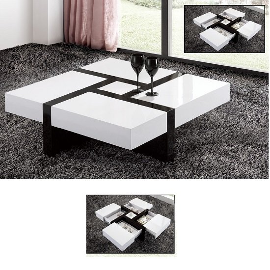 Nova Extendable High Gloss Coffee Table In White With Storag