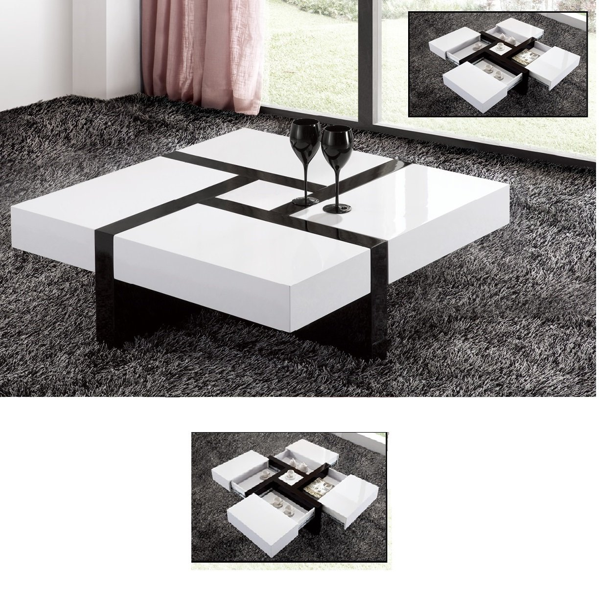 Nova Extendable High Gloss Coffee Table In White With Storage Tables Black Furnitureinfashion Uk