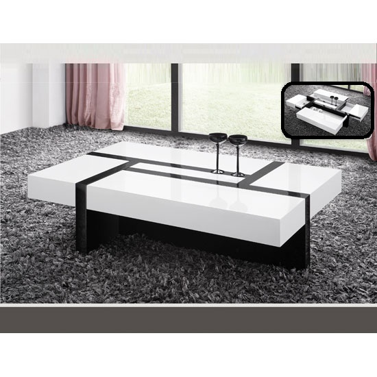 Star Storage Coffee Table In White And Black Gloss With Drawers