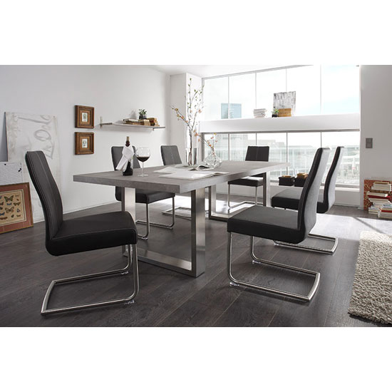 Savona Grey Dining Table With 6 Antigua Dining Chairs