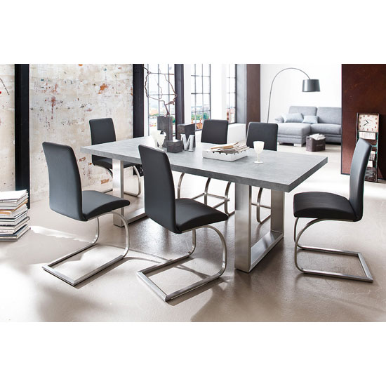 Savona Grey Dining Table With 8 Maui Dining Chairs