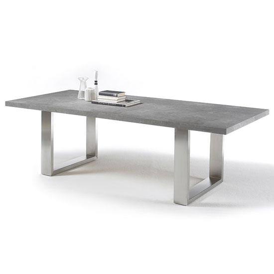 Savona Small Dining Table In Grey With Stainless Steel Legs