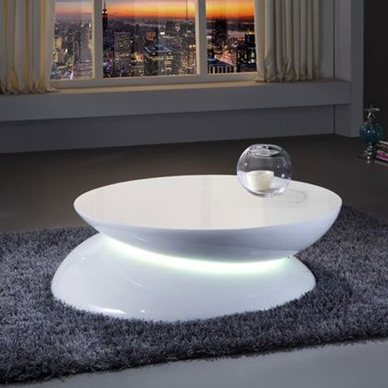 Helix coffee table in white high gloss with led light 24168 Led coffee table