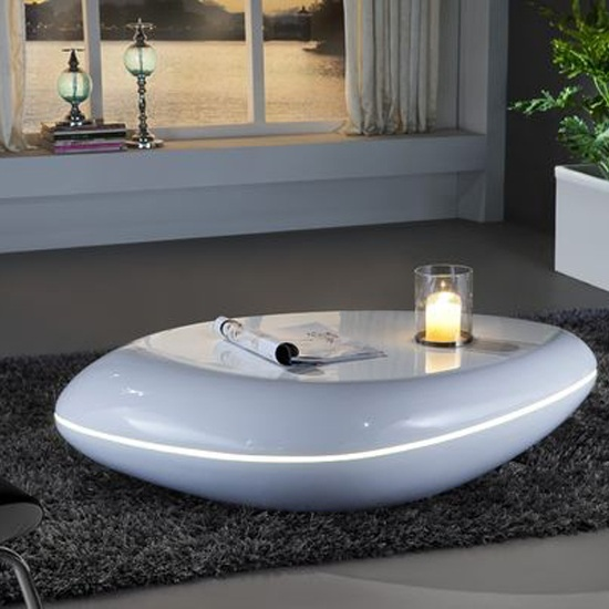 Coffee Table High Gloss White: Waylon Coffee Table In White High Gloss With LED Light