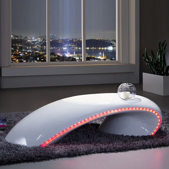 Helix Coffee Table In White High Gloss With Led Light 24168: High Gloss Coffee Tables, Black, White, Furnitureinfashion UK