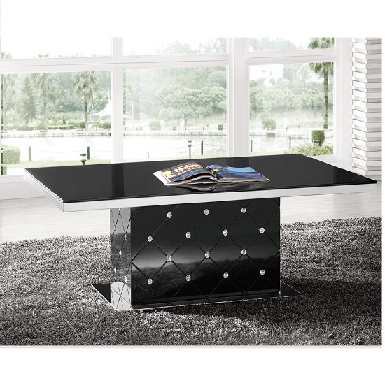 Levono  High Gloss Coffee Table In Black With Rhinestone