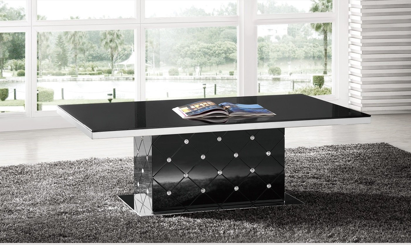 Levono high gloss coffee table in black with rhinestone for Coffee tables 80cm wide