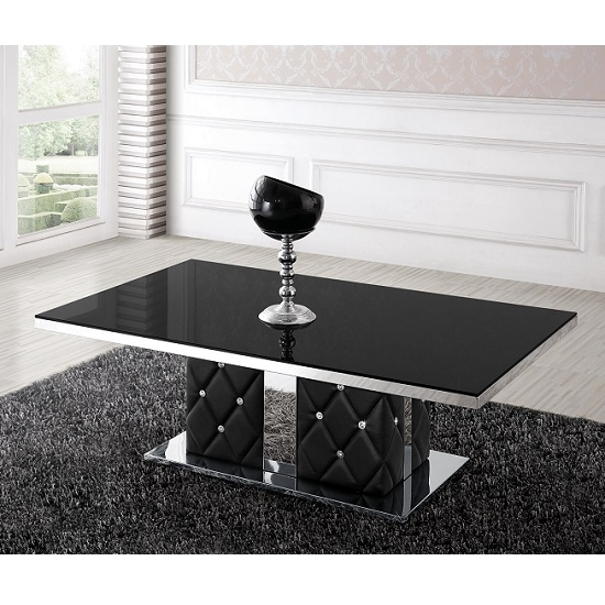 Levo Glass Coffee Table In Black With Rhinestone_2