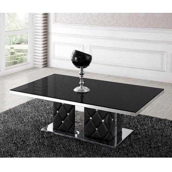 Levo Glass Coffee Table In Black With Rhinestone 21052