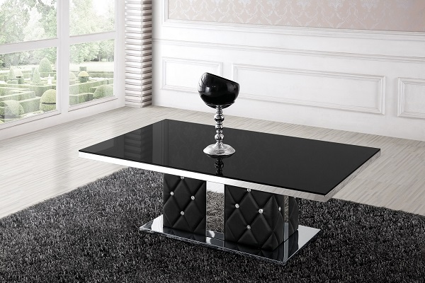 Levo Glass Coffee Table In Black With Rhinestone_3
