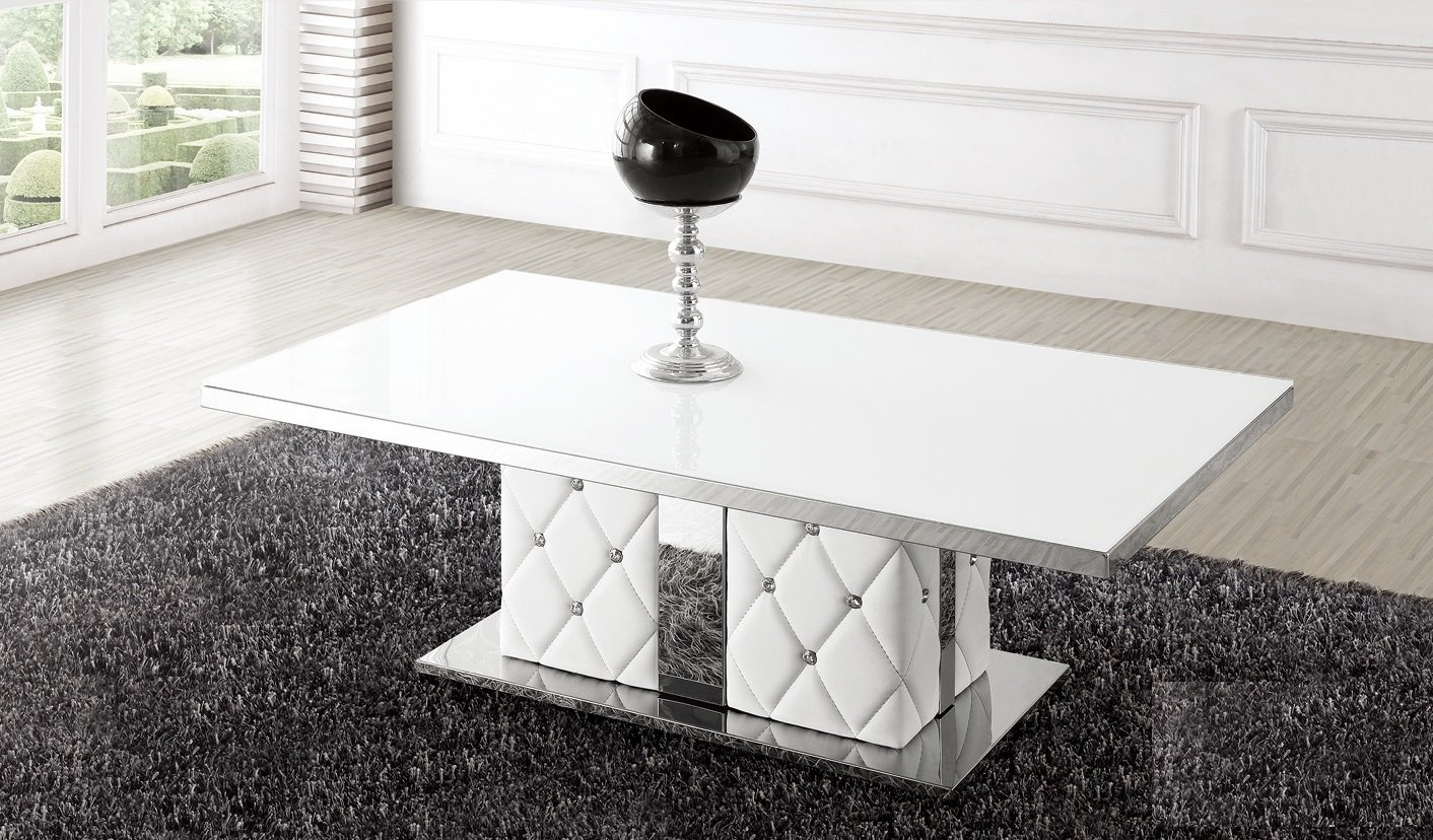 Levo Glass Coffee Table In White With Rhinestone 21053