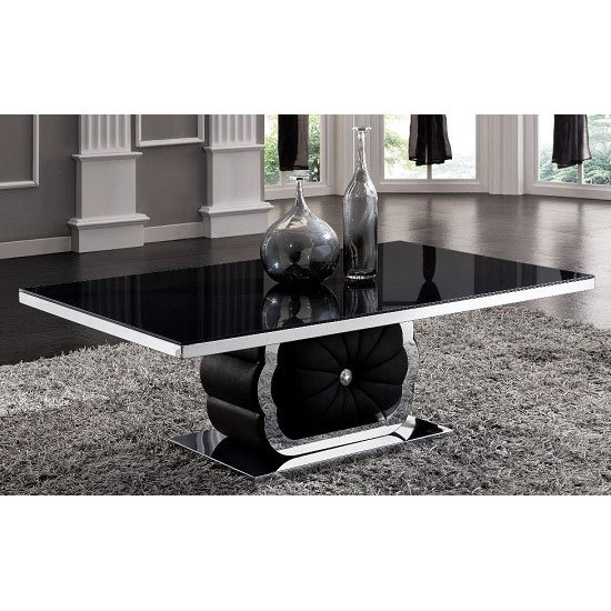 Dana Clear Glass Rectangular Coffee Table With Black Wooden