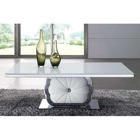 Mantis Coffee Table In White Glass Top With Chrome Plated Base