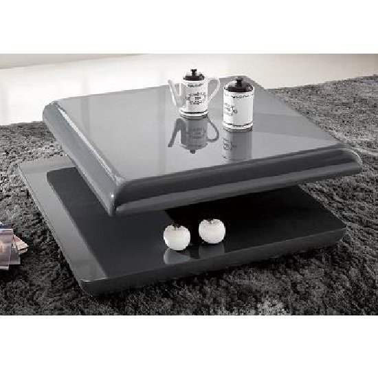 Square Coffee Table Grey: Stratum Square Coffee Table In High Gloss Grey 23580