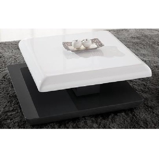 High Square Coffee Table: Stratum Square Coffee Table In High Gloss White And Grey