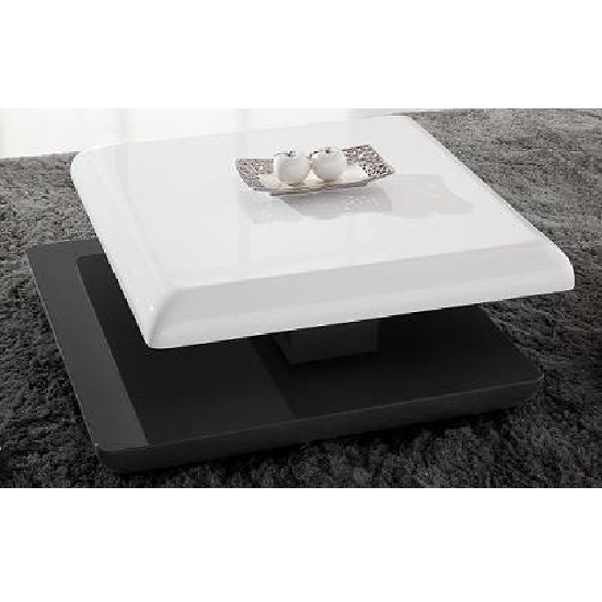 Square Coffee Table Grey: Stratum Square Coffee Table In High Gloss White And Grey